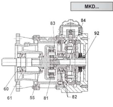 Фото - Габаритные размеры мотор-вариатора MKDF + 3-х ступенчатым соосно-цилиндрическим редуктором MHLF…/3